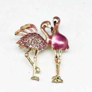 Napier Pink Enamel Rhinestone Flamingo Pin Brooch